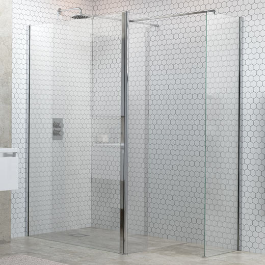 300mm rotatable† wetroom panel and support bar