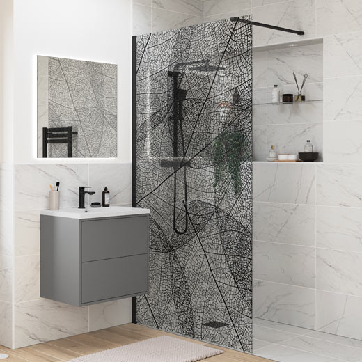 Wetroom Panel Black Leaf